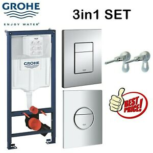 GROHE CONCEALED WALL HUNG CISTERN WC TOILET FRAME WITH GLOSS CHROME FLUSH PLATE