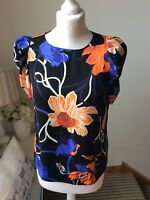 BNWT DOROTHY PERKINS Black Floral Short Puff Sleeve Top Blouse Size UK 10 RRP£24