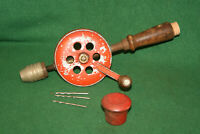 Antique Vintage Eggbeater Hand Drill Brace with (3) Bits Made in USA Inv#EM03