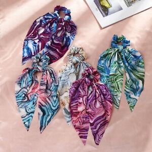 Women Print Turban Bow Hair Band Ties Ponytail Ribbon Scrunchie Hair Accessories
