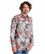 Men's Regular Long Sleeve Floral Cotton Casual Shirts & Tops