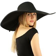 "Summer Elegant Derby Big Super Wide Brim 8"" Brim Floppy Sun Hat Funeral Black"