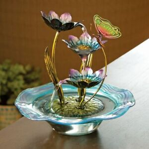 Iridescent Glass Butterfly & Water Lilies Porch Patio Tabletop Water Fountain