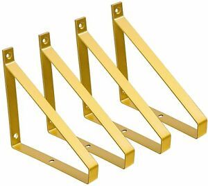 Mkono Gold Shelf Brackets 4 Pack Heavy Duty Floating Shelves Brackets & Hardware