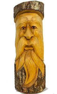 """Tree Spirit Old Man Wizard Mask wall art sculpture hand carved Wood 12"""""""