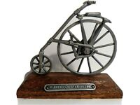 Vintage Pewter Antique BICYCLE Figure Statue American Star 1881 Wood Base