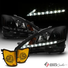 For 06-10 IS250/IS350 Blk Smoked Lexus-Signature-DRL-LED Headlights + Yellow Fog