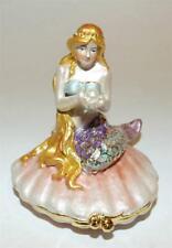 Mermaid Bejeweled & Enameled Hinged Trinket Box W/Austrian Crystals