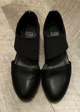 Eileen Fisher Closed Toe Black Leather Wedge Shoe Slip On Zip Back Sz 6