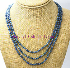 """Fine jewelry 17-19 """"3 rows 4mm faceted Brazil Aquamarine bead necklace"""