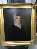 ANTIQUE OIL ON CANVAS LOVELY LADY IN MOURNING PROFESSIONAL CONSERVATION 30""