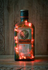 Do it yourself recycelt Upcycling Jagermeister Vintage Retro Flasche LED Lampe rot Licht
