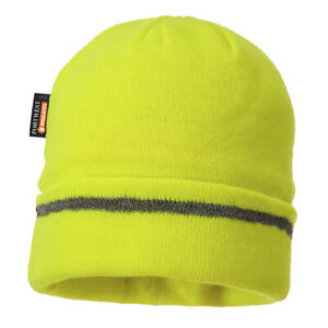 B023 Yellow Reflective Trim Knit Hat Insulatex Lined Beanie