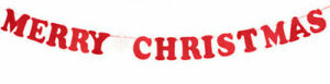 Merry Christmas Typography Banner Bunting Garland Hanging Xmas Party Decor Gift