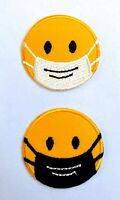 Mask Smile Emoji Embroidered Iron On /Sew On Patch Badge For Clothes etc