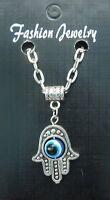 "20"" or 24 Inch Necklace & Hamsa Turkish Evil Eye Pendant Charm hand of Fatima"