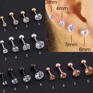 1pcs Punk Gem Stainless Steel Earring Stud Cartilage Tragus Bar Helix Upper Ear