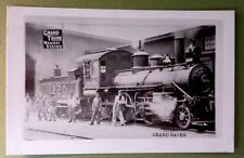 Vintage Photo Postcard GRAND TRUNK RAILWAY TRAIN ENGINE 1220 Grand Haven MI USA