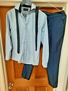 Boys Formal Outfit - Next -  Trousers, Striped Shirt and Tie - Age 13 Worn Once