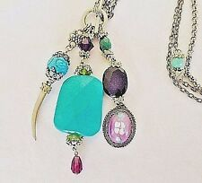 Turquoise-Amethyst & Aventurine semi precious-Horn Charm-Toggle-Necklace
