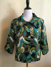 Silk Land Womens Silk Cropped Jacket Size Large Bright Mod Chic Career