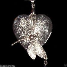 Libellen Blüten Herz Medallion & Kette 2 Foto Medaillon Amulett versilbert