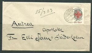 FINLAND YR.1922-23`s. FIRST RED CROSS STAMP COVER.USED