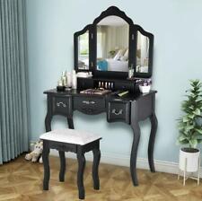 Vanity Makeup Dressing Table Set Folding Mirror Desk Dresser W/Stool Wood Black