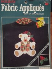 New listing Vintage Holiday Fabric Appliques #56113 Holiday Bear Fus-O-Bond : Sealed