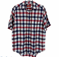 RM Williams Blue/Red/White Check Short Sleeve Button Up Regular Fit Shirt Size S