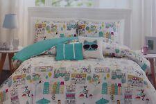4 pc OYO PARIS Twin Comforter, Sham & Decorative Pillows Set NIP