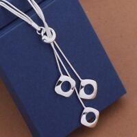 Statement lange Halskette 925 Sterlingsilber Collier Geschenk Quadrat Elegant