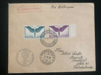 1939 Aarau Switzerland Balloon Flight Airmail cover to Czechoslovakia Sc#C 10-13