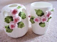 Objet de collection en porcelaine fine bone China vase, Set de 2 pièces, fleur incrustée