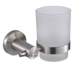 Brushed Stainless Steel Wall Mounted Toothbrush Holder Cup (Single/Double) D416
