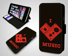 I Love Music Nostalgia Cassette DJ Mix Tape Leather Wallet Flip Phone Case Cover