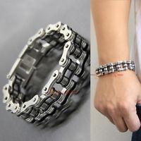 Heavy 316L Stainless Steel Motorcycle Bike Chain Mens Bracelet Silver/Black 18mm