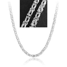 5MM Fashion 20 Inch 925 Sterling Silver Plated Chain Link Men Geometry Necklace