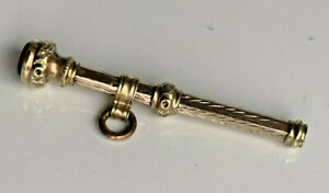 Antique Victorian 9ct Gold CASED Mechanical Propelling Pencil With Citrine