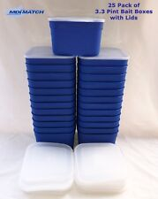 Bulk Pack of 25 MDI Match 3.3 Pint Fishing Blue Maggot Bait Boxes + Lids