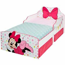MINNIE MOUSE TODDLER BED WITH STORAGE POLKA DOTS BOW JUNIOR GIRLS BEDROOM