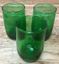 Roly Poly Dk Forest Green Glass 3 Flat Juice Glasses Plain Anchor Hocking 194896