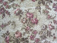 "French Antique 1920s Romantic Country Rose Floral Tapestry Fabric~31""L  X 24""W"