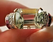 Vintage Light Green Aquamarine Ruby Diamond 18k rose gold Ring