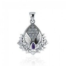 Angel Wings Lotus Pendant .925 Sterling Silver by Peter Stone Jewelry