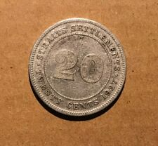 STRAITS SETTLEMENTS - 1927 20 Cents aVF Silver