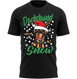 Dachshund Through The Snow T-Shirt Dog Lover Christmas Gift Unisex Tee Shirt Top