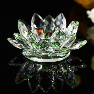 green Crystal Glass Lotus Flower Candle Tea Light Holder Candle stick Decor Gift