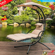 Garden Hammock Chaise Hanging Swing Lounger Chair Seat Sun Outdoor W/Cushion UK