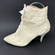 KF Ltd Womens 6 White Lace Victorian Lace Up Booties Boots Cosplay Theater